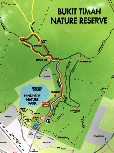 Trail map of Bt Timah Nature Reserve